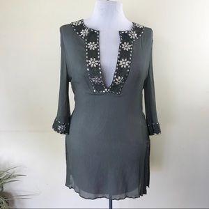 Calypso St. Barth Grey Embellished Tunic Blouse
